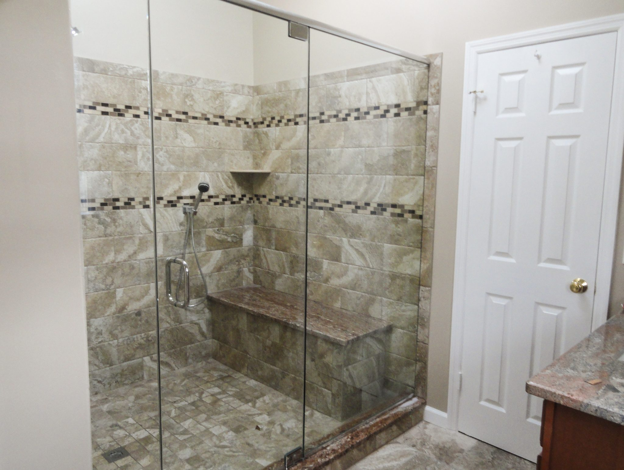 Inline Shower In Brushed Nicol With Delux Header Towel Bar